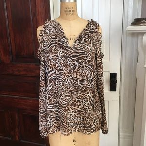 Michael Kors Leopard cold shoulder top S NWT